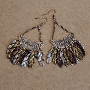 Jewelry - Chandelier Earrings with Metal Feathers